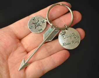 Keychain , Compass keychain, Arrow keychain, Daughter of the Risen King Keychain, Silver Keychain , Personalized Keychain , Gift for her