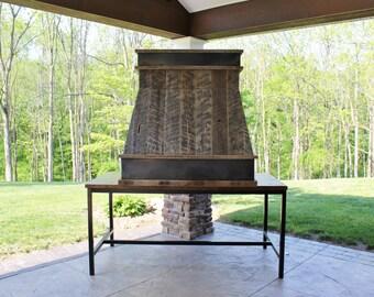 Rustic Range Hood - Reclaimed Barn Wood Range Hood w/Steel Trim #2730