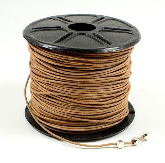1mm leather cord in natural light brown, fine genuine leather cord - 1 yard/order