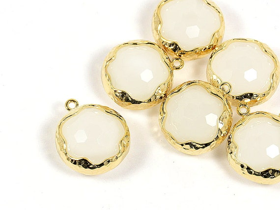 White Glass Pendant, Round White Pendant, Smokey White Color with Hammered Finished Frame in Anti-tarnish Gold Plating  - 2 pcs/ order