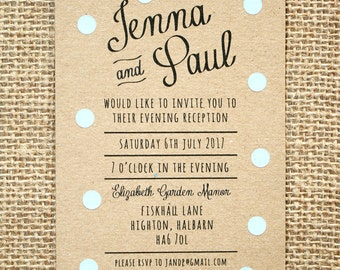 Pastel Blue Polka Dot Evening Wedding Invitation - Rustic Kraft