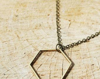 Hexagon Geometric Minimalist Necklace - Brass Jewellery - Statement necklace - Simple - Elegant - Hegagonal