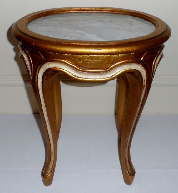 Marble Topped Gilt Coffee Table C 1920: Antique Italian Florentine Small Marble Top Gilt Wood