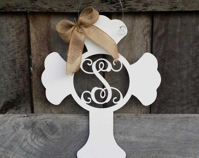 Monogram Cross Door Hanger - Painted Initial Cross Wreath - Nursery Decor - Hospital Door Hanger - Mother's Day Gift