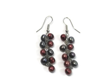 Vintage Purple and Red Freshwater Pearl Cluster Dangle Earrings