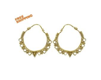 Ethnic Hoop earrings,Tribal Ethnic brass earrings, gypsy earrings, Gypsy hoop earrings.