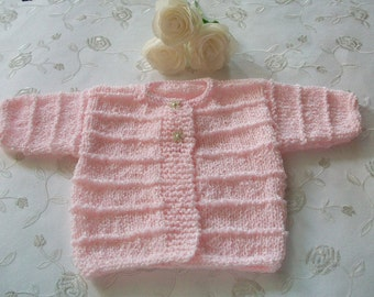 Pink Baby Cardigan, Pink Baby Sweater, Pink Baby Top, Newborn Pink Cardigan, Newborn Pink Top