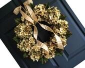 Head Turning Blended Hydrangea Wreath Design | Front Door Wreaths | Green and Cream Hydrangeas | Spring Wreath | Summer Wreath | Door Wreath