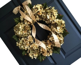 Head Turning Blended Hydrangea Wreath Design | Front Door Wreaths | Green and Cream Hydrangeas | Wreath | Summer Wreath | Door Wreath
