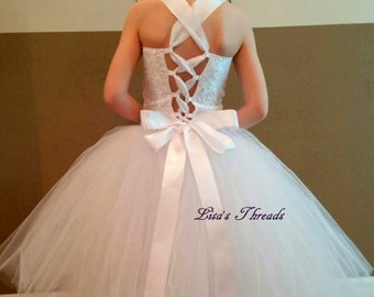 Ivory corset flower girl dress/ Wedding vintage flower girl tutu/ Junior bridesmaids dress/ Size 1T up to 12T (many colors available)
