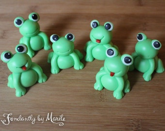 Small Frogs Cake Topper, Fondant, Set of 6