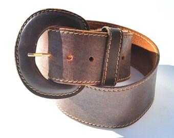 Vintage Brown Leather Stitched Curved Wide Belt Medium