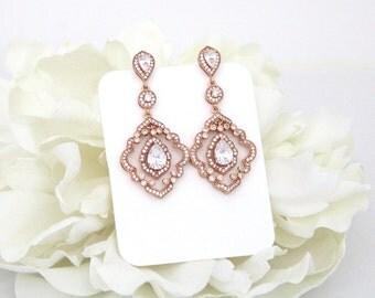 Rose Gold Earrings, Art Deco Chandelier earrings, Bridal earrings, Wedding jewelry, Rose Gold Wedding earrings, Rose gold crystal earrings
