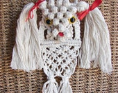 Toy Poodle Macrame hanging decor. Fiber art Dog lovers gifts. Poodle with red bow. Cute dog gifts