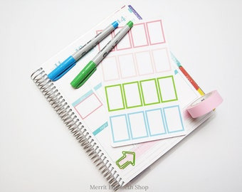 Border Half Weekly Box Sticker Sheet : Spring Fling Theme Planner Stickers