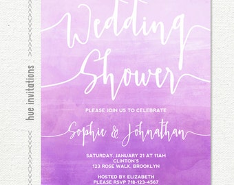 wedding shower invitation, purple violet watercolor coed couples bridal shower invitation, wedding shower custom printable digital file