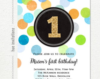 first birthday invitation gold glitter one, boys blue green orange 1st birthday invitation, confetti printable birthday party invite 191