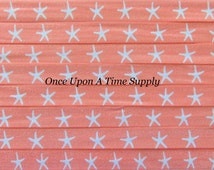 Coral Peach Starfish Print Fold Over Elastic for Headbands - 5 Yards of 5/8 inch FOE - Bright Star Fish Nautical Printed Elastic By The Yard