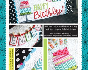Happy Birthday Bench Pillow Pattern by Kimberbell - Pattern Only KD186; Quilted Pillow Cover; Pillow Pattern