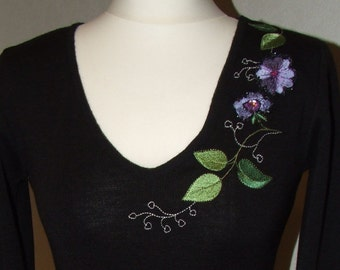 Black Woven Sweater, Womens Embroidered Sweater, Embroidered Jumper With Floral Pattern
