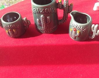 Vintage porcelain Cactus creamer sugar and mug from grand Canyon Arizona