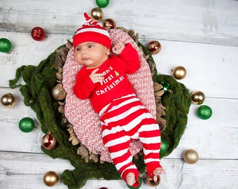 Baby First Christmas - Boy Outfits - First Christmas - 3 Piece