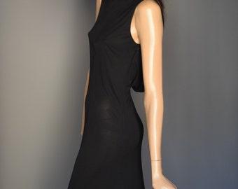 ROLAND KLEIN at Marcel Fenez Black Cowl Scoop Back Midi Dress