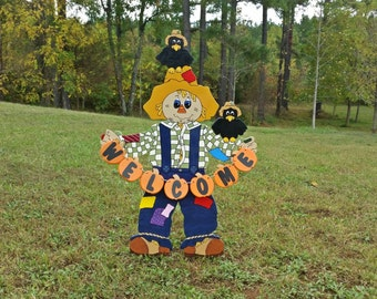 Welcome Scarecrow Yard Sign