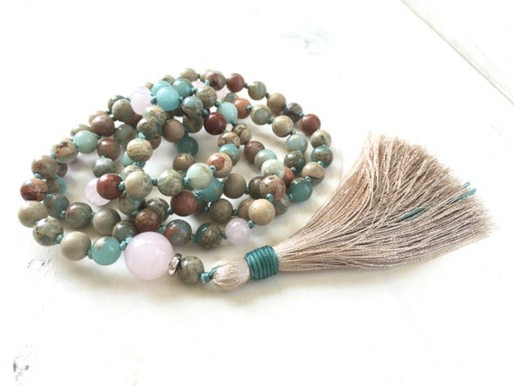 African Opal Mala Beads, Hand Knotted Gemstone Mala, 108 Bead Mala Necklace, Silk Tassel Mala Necklace, Yoga Jewelry, Prayer Beads