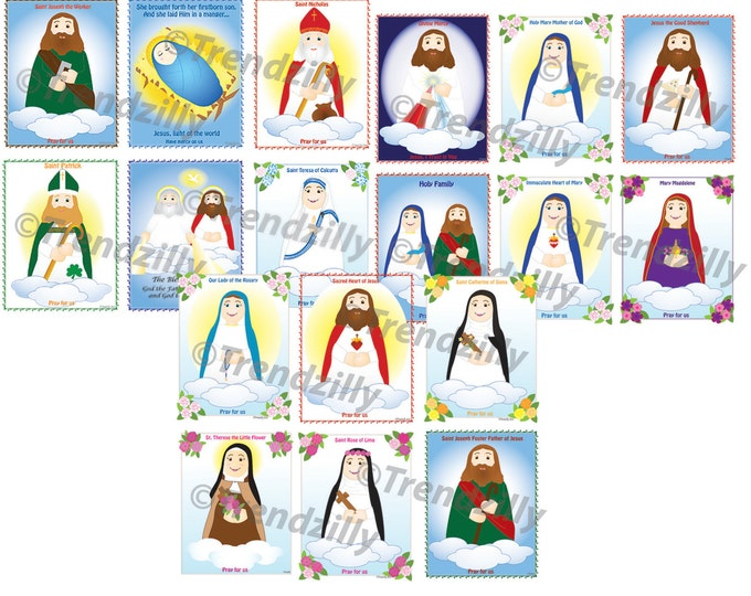 Soft Saint Holy Card Set, Saint Trading Cards, Kids Saint Cards, Feast Day Holy Cards, Trading Cards, Collecable cards, Printable Download.