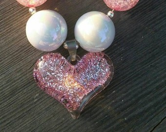 Pink Glitter Heart Chunky Necklace