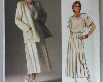 Vogue 1507 Calvin Klein Misses' Linen Jacket, Pleared Skirt and Top Pattern size 10 uncut