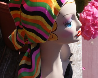Awesome Vintage 1960's Funky Striped Head Scarf / Kerchief / Neck Wrap