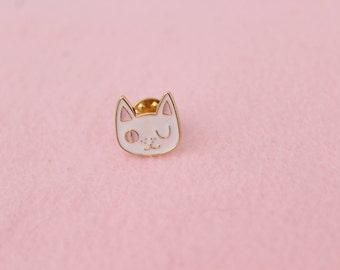 Kitty Cat Brooch Cute Pink Golden