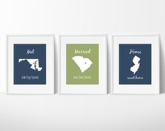 State Prints - Met, Married, Home Maps - State Wall Art - Important Dates - Personalized Wedding Gift - Anniversary Gift - Housewarming Gift