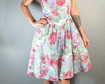 Totally 80s Flower Homecoming Dress// 80s Spring Dress// Karen Stevens Party Dress