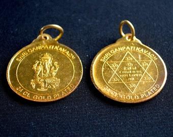 Sri Shri Ganesh Ganpati Yantra Yantram Gold toned Kavach Pendant Amulet - Energized For Good Luck, Wealth and Prosperity