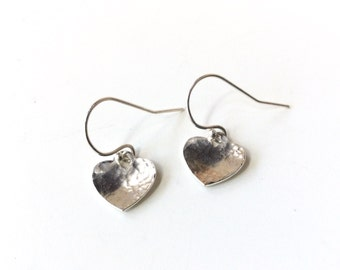 sterling silver heart earrings  - hammered dangling hearts - marked 925