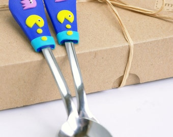 Pacman cutlery set, Spoon and fork, retro video game, Pacman party theme, pacman and ghost, kids cutlery set velwoo
