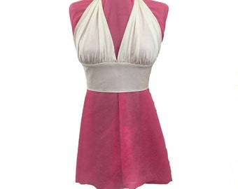 1960s Cream Jersey Knit Halter Top, Hippie Chic Boho Gypsy Festival Wear Beach Halter