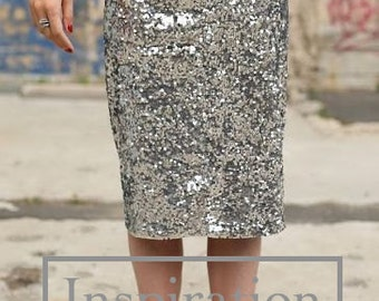 Ready to Wear 'Melanie' fitted all-over sequin pencil skirt for parties and evening