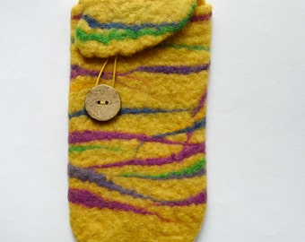 yellow with colorful stripes, wet felted smart phone case