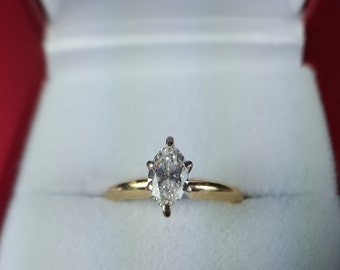 Amazing 14Kt Gold .55 Carat Marquis Diamond Engagement Ring; SI2