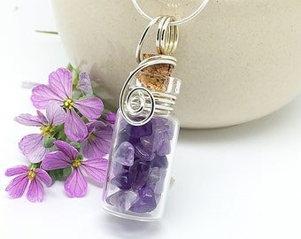 Amethyst Necklace, Glass Jar Necklace, Sterling Silver, Wire Wrapped Glass Bottle, Healing Crystals, Gem Pendant, Natural Amethyst Jewelry