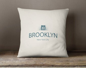 "Brooklyn pillow cover, New york pillow cover,new york city pillow,new york cushion, NY pillow, Brooklyn pillow case, Brooklyn case, 16""x16"""