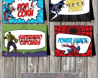 Superhero Batman, Spiderman, Thor, Hulk, Superman, Captain America Avengers Birthday Food Tent label printable diy Party Printable