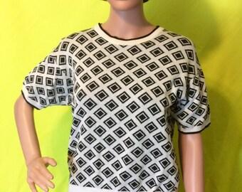 1980s White and Black Diamond Sweater, S-M petite