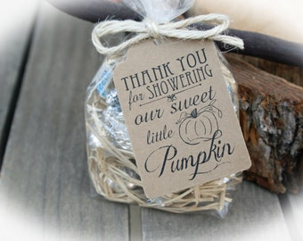 Elegant Little Pumpkin Baby Shower Favor 25 DIY Bags/Favor Tags W/Ribbon Or
