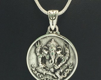 925 Sterling Silver Pendant Lord Ganesh ,Rich and Luck Good Business.(No.86)