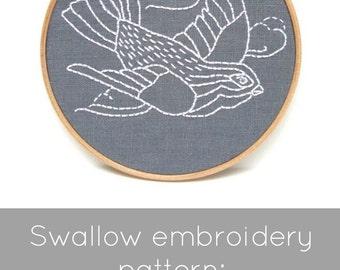 Bird embroidery pattern, swallow embroidery pattern, bird in flight, PDF embroidery pattern, I Heart Stitch Art, iheartstitchart, embroidery